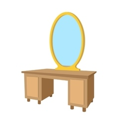 Dressing table with a mirror cartoon icon vector