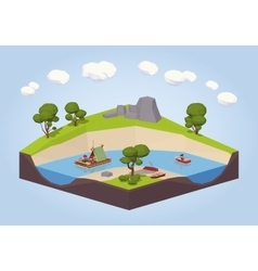 Travel down the river on a raft and punt vector image