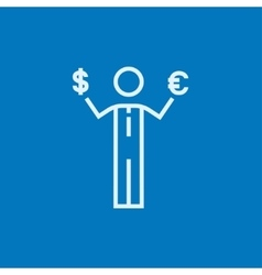 Businessman holding euro and us dollar line icon vector