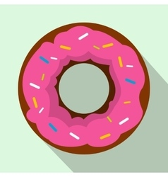 Pink glazed donut icon flat style vector