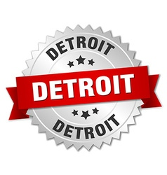 Detroit round silver badge with red ribbon vector