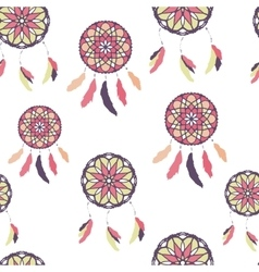 Seamless pattern with freehand dreamcatchers vector