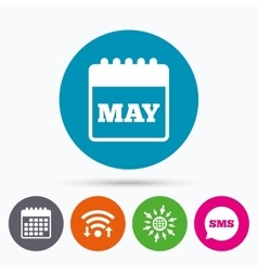 Calendar sign icon may month symbol vector