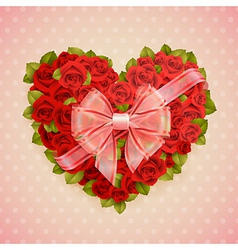 Red roses heart vector