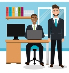 Businessman in workspace isolated icon design vector