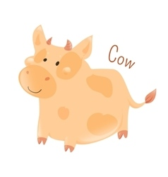 Cow isolated domestic pets sticker for kids vector