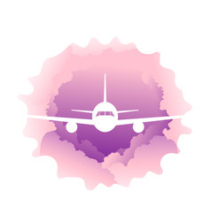 airplane in the clouds vector image
