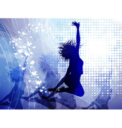 Background with jumping girl vector image vector image