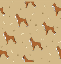 Beautiful seamless pattern with cartoon cute dogs vector