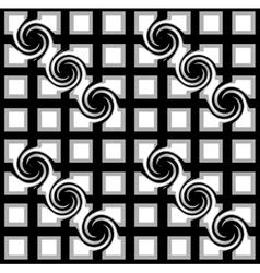 Black and white checkered pattern with swirls vector image vector image