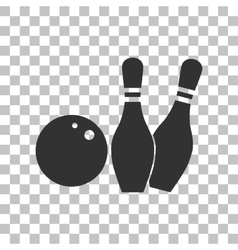 Bowling sign Dark gray icon on vector image