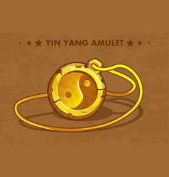 cartoon golden circle old amulet yin yang vector image vector image
