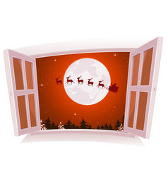 christmas landscape outside the window vector image