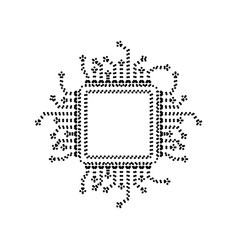 Cpu microprocessor black vector