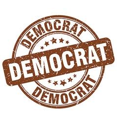 democrat brown grunge round vintage rubber stamp vector image vector image