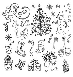 doodle christmas new year vector image