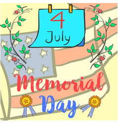 Doodle of memorial day style hand draw vector