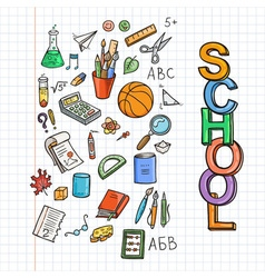 Doodle school icon set education supplies vector