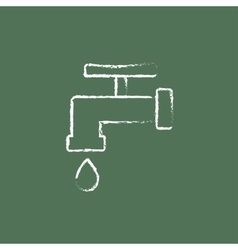 Faucet with water drop icon drawn in chalk vector
