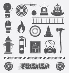 Firefighter Flat Icons and Symbols vector image vector image
