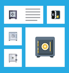 Flat icon closed set of strongbox protection vector