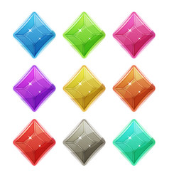 Gems crystal and diamonds icons for game ui vector