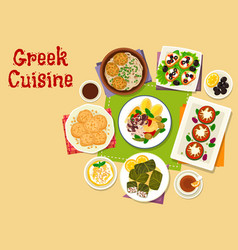 Greek cuisine healthy dishes icon design vector
