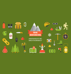 hiking mountainering pictogram vector image