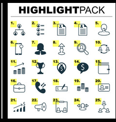 Hr icons set collection of destination find vector