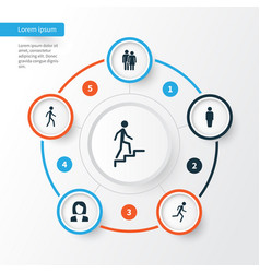 Human icons set collection of beloveds running vector