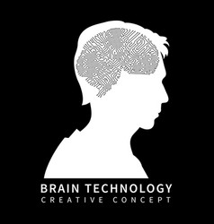 male head silhouette with chip brain on black vector image