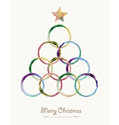 Merry Christmas circle tree watercolor greeting vector image vector image