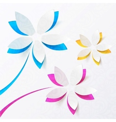 Paper flowers greeting card template vector image vector image