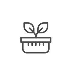 plant pot line icon vector image vector image