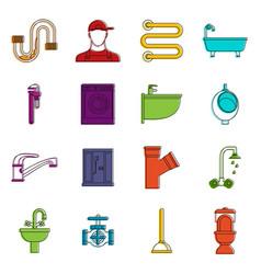 plumbing icons doodle set vector image