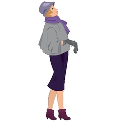 Retro girl with gloves isolated vector image vector image