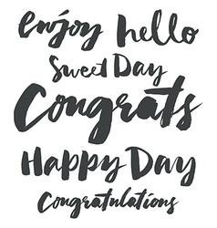 Set congratulatory inscriptions vector image