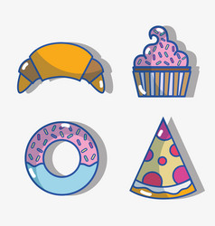 Set croissant and donut with pizza slice and vector