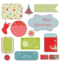 set of christmas tags and elements vector image