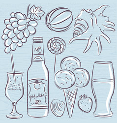 set of summer symbols clams shells cocktail vector image vector image