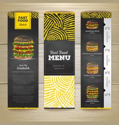 Set of vintage chalk drawing fast food menu banner vector image vector image