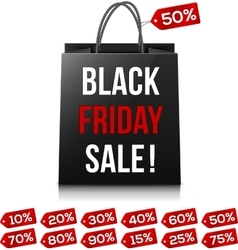Shopping bag with Black Friday Sale sign and red vector image