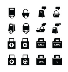 shopping bags set bubble talk vector image vector image