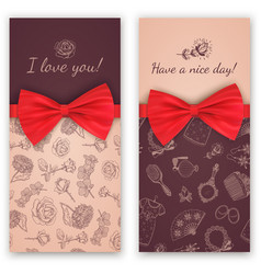 sketch pattern and red ribbon bow vector image