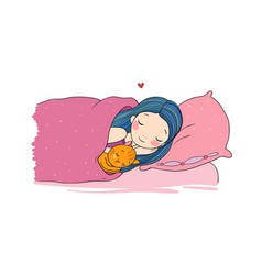Sleeping girl and cat in bed good night vector