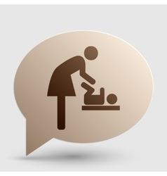 Symbol for women and baby baby changing brown vector