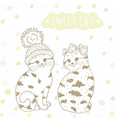 Two cute kitten vector