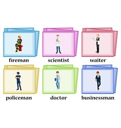 Vocabulary cards for occupations vector