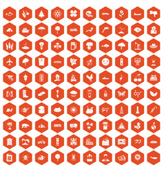 100 global warming icons hexagon orange vector