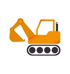 Excavator construction machinery icon vector